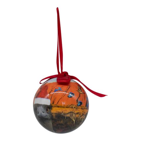 Kangaroo emu design Christmas bauble decoration