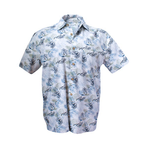 Men's bamboo shirt - blue palm-Bamboo men's shirt-Oz About Oz