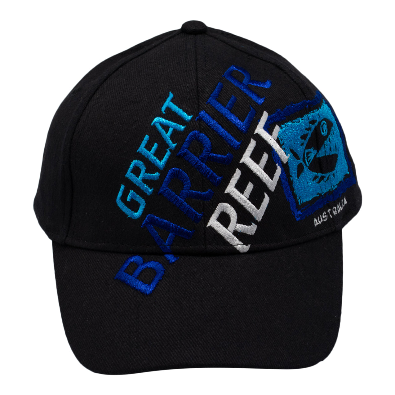 Caps - black Great Barrier Reef, Australia - light blue, blue & white-Men's caps-Oz About Oz