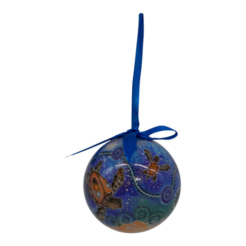 Blue turtles Aboriginal Christmas bauble decoration