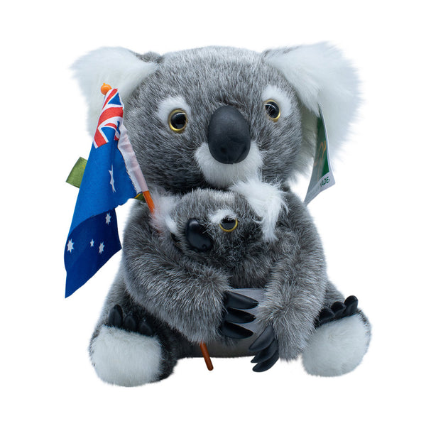 Koala and baby soft toy with Australian flag-Koala soft toy-Oz About Oz