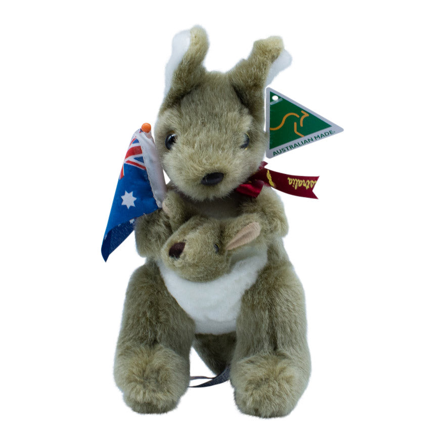 Grey kangaroo with joey holding Australian flag - 2 sizes-Kangaroo soft toy-Oz About Oz