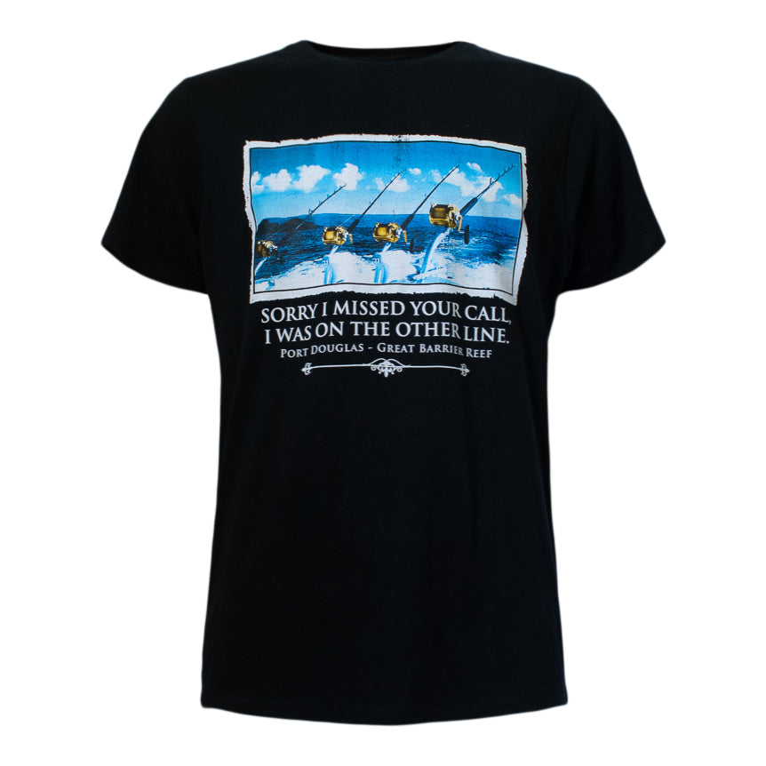 Men's black t-shirt - fishing - the other line