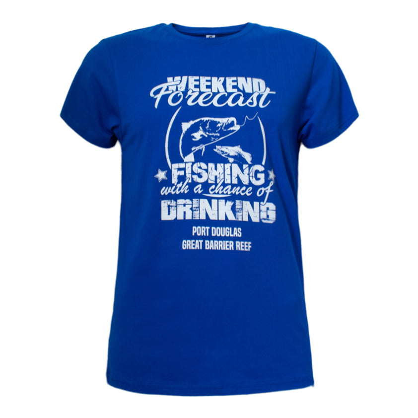 Men's blue t-shirt - weekend forecast fishing and drinking
