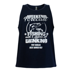 Men's black singlet- weekend forecast fishing and drinking