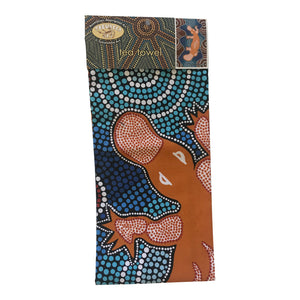 Aboriginal platypus tea-towel - Tobwabba Art