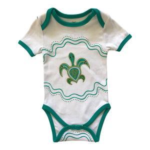 Baby onesie - summer short sleeve with turtle (Muralappi Dreamtime children's range)