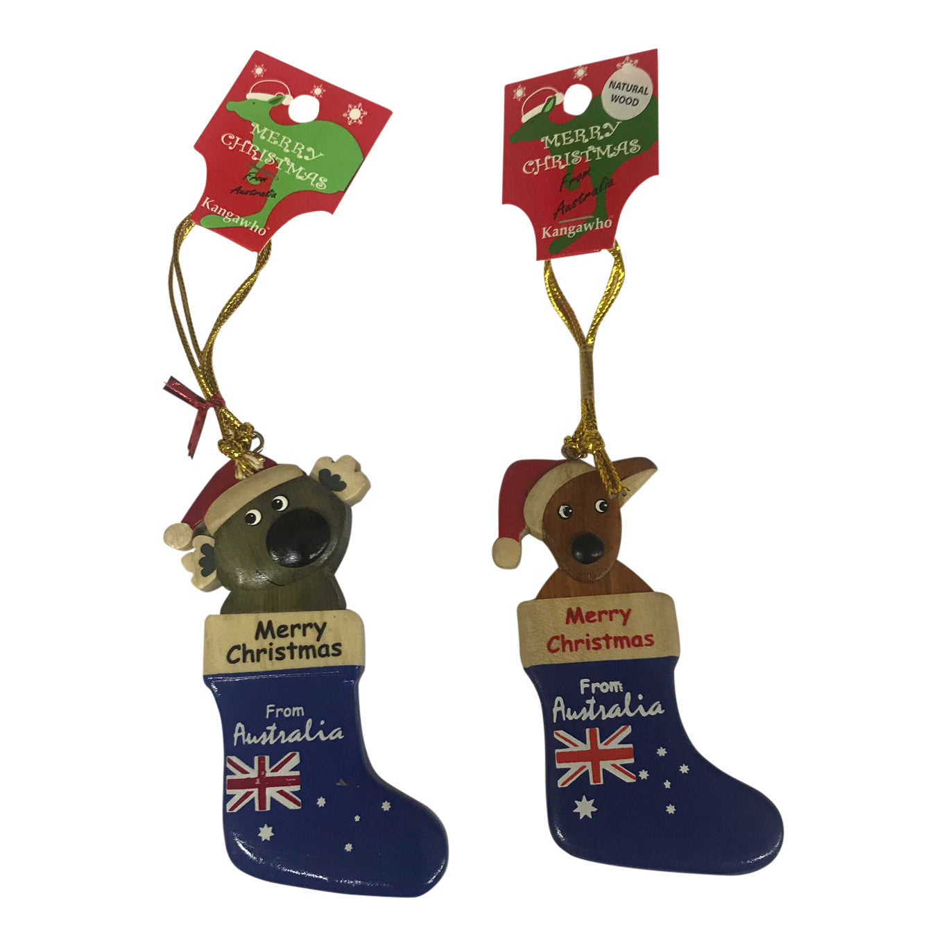 Kangaroo or koala Aussie flag Christmas tree decorations