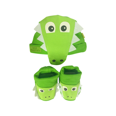 Baby hat and booties set - crocodile-Baby Hat & Bootie set-Oz About Oz