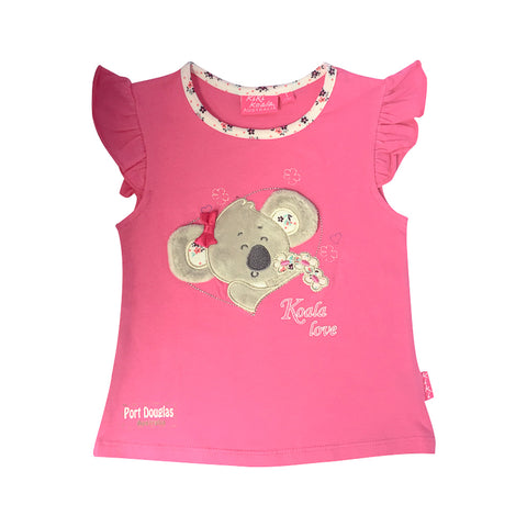 Girls' t shirt - koala love in pink-Girl's t-shirt-Oz About Oz