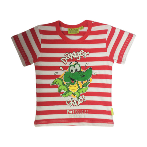 Kids' t shirt - crocodile on red & white stripes-Kids t-shirt-Oz About Oz