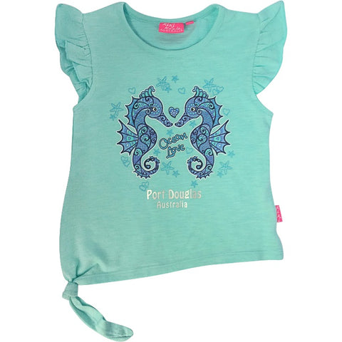 Girls' t shirt - seahorse on mint green-Girl's t-shirt-Oz About Oz