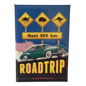 Fridge magnets - Australian road sign camels, wombats, kangaroos next 995 km-Magnets-Oz About Oz