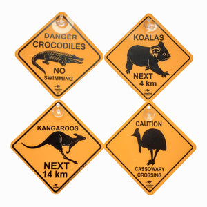Australian road signs with suction caps - kangaroos, koalas, crocodiles, cassowaries-Road signs for cars-Oz About Oz