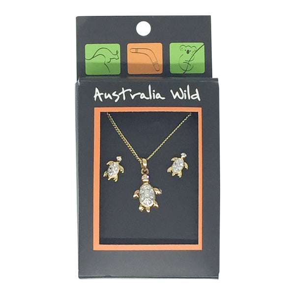 Jewellery - turtle stud and necklace set-Jewellery-Oz About Oz
