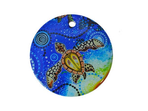 Aboriginal art jewellery - turtle blue round pendant (Yaunati)