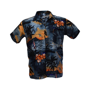 Men's Hawaiian shirt - dark grey & blue sunset-Hawaiian men's shirt-Oz About Oz