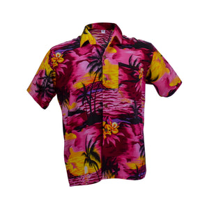 Men's Hawaiian shirt - pink & yellow-Hawaiian men's shirt-Oz About Oz