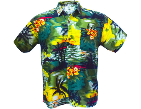 Men's Hawaiian shirt - green-Hawaiian men's shirt-Oz About Oz