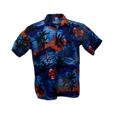 Men's Hawaiian shirt - blue & red-Hawaiian men's shirt-Oz About Oz