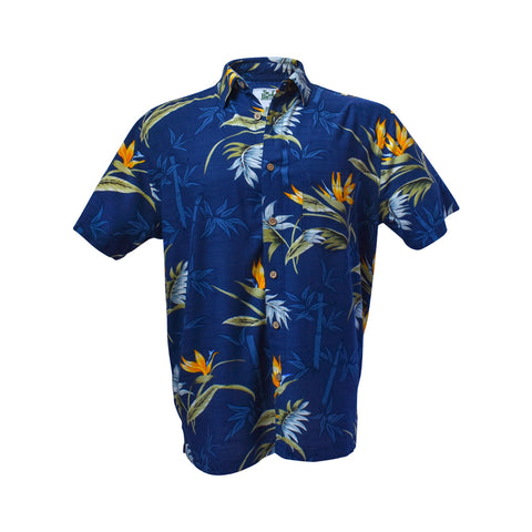 Men's bamboo shirt - blue paradise palm-Bamboo men's shirt-Oz About Oz
