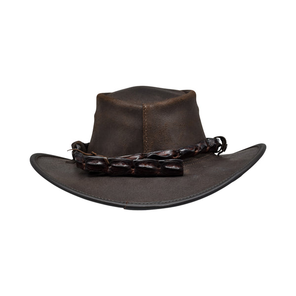 Crocodile teeth leather hat - Australian hat-Leather hat-Oz About Oz