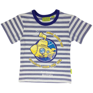 Kids' t shirt - yellow submarine on blue and white stripe-Boy's t-shirt-Oz About Oz