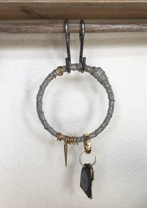 Grey Sparkle Salvaged Leather Key Ring