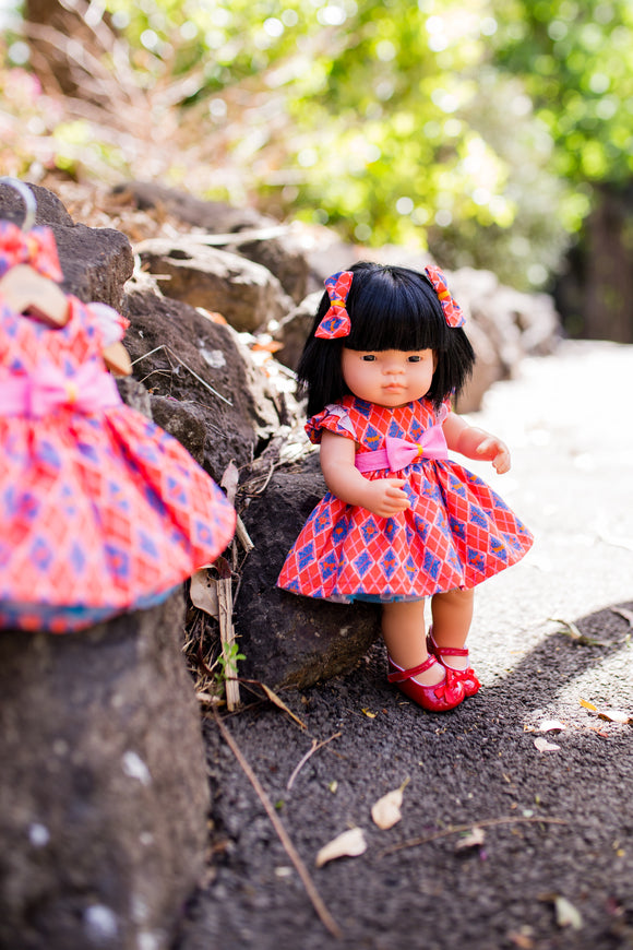 Girt Squad Dress Set (MADE TO ORDER UP TO 2 WEEKS) to suit 38cm Miniland Doll - Badges
