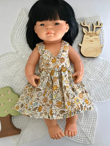 Vovo Dress Set to suit 38cm Miniland Doll - Golden Mustard Prettiness