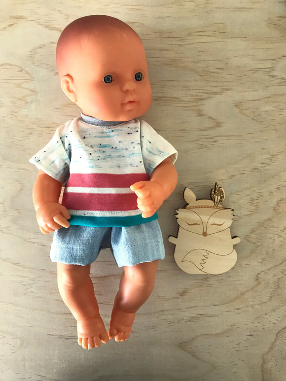 Shorts Set to suit 32cm Miniland doll - Bold Stripe 'T' and Light Denim Shorts