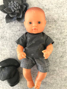 Shorts Set to suit 32cm Miniland doll - Charcoal 'T' and Black Shorts