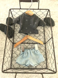 Shorts Set to suit 32cm Miniland doll - Charcoal 'T' and Light Denim Shorts.