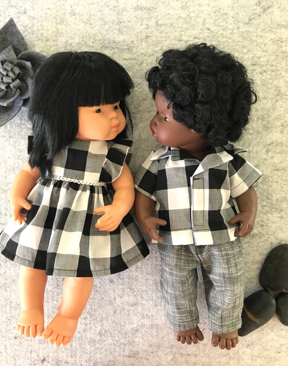 MADE TO ORDER (UP TO 2 WEEKS) Trousers Set to suit 38cm Miniland doll - Large Black Gingham and Charcoal Trousers