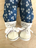 Trainers. Lace up Shoes to suit 38cm Miniland Doll - White Canvas