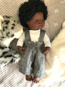 Trousers Set to suit 38cm Miniland doll - Britches - Charcoal and white T