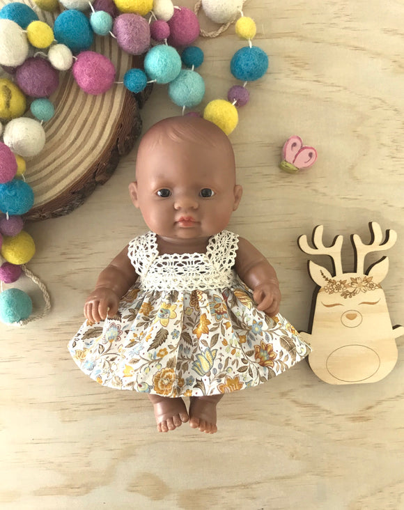 Maisy Dress Set to suit 21cm Miniland Doll - Golden Mustard Prettiness