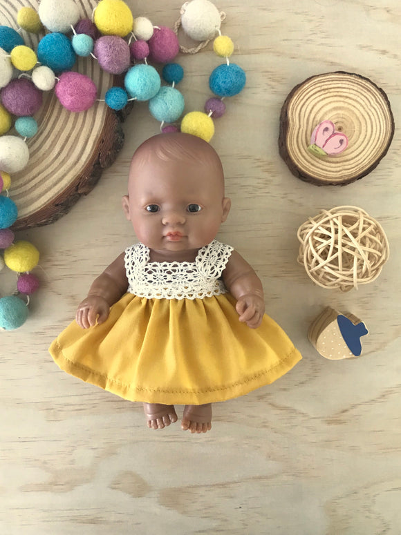 Maisy Dress Set to suit 21cm Miniland Doll - Mustard