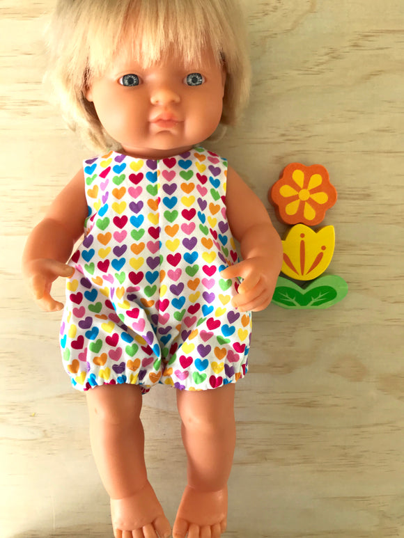 Delilah Romper to suit 38cm Miniland Doll - Rainbow Hearts