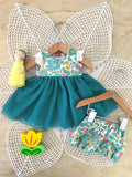 Coco Dress Set to suit 38cm Miniland Doll - Liberty London - Betsy - Green