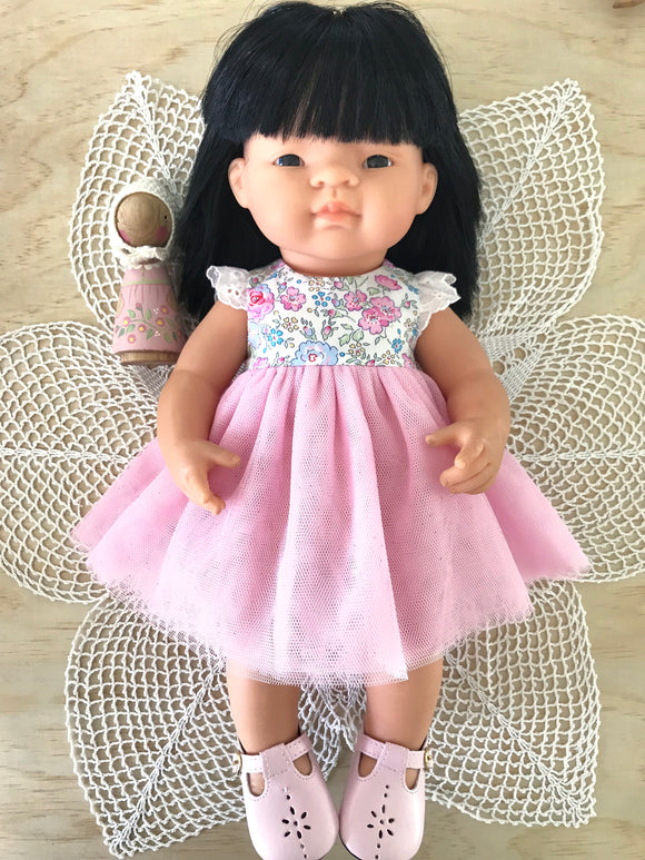 Coco Dress Set to suit 38cm Miniland Doll - Liberty London -Felicite- Pink