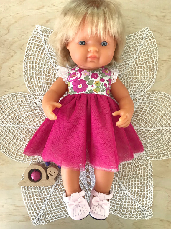 Coco Dress Set to suit 38cm Miniland Doll - Liberty London - Betsy - Fuchsia