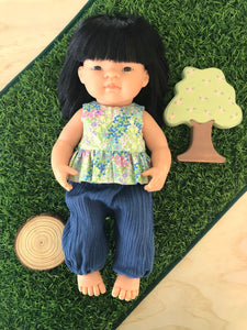 Doll Trousers Set to suit 38cm Miniland Doll - Measow top with happy pants