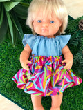 Skirt Set to suit 38cm Miniland Doll - Ellie Whittaker - Leafy