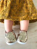 Plimsoll Shoes to suit 38cm Miniland Doll - Sparkle - Gold