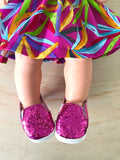 Plimsoll Shoes to suit 38cm Miniland Doll - Sparkle - Hot Pink