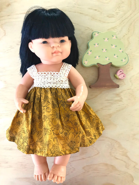 Maisy Dress Set to suit 38cm Miniland Doll - Wild Garden - Mustard