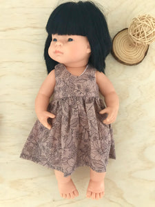Vovo Dress Set to suit 38cm Miniland Doll - Wild Garden - Midnight Pink
