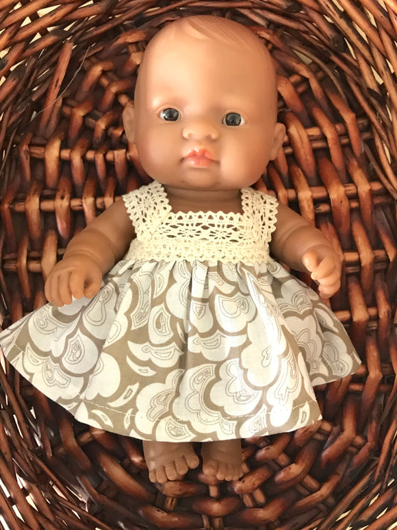 Maisy Dress Set to suit 21cm Miniland Doll - Beige Swirl