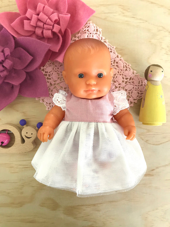 Coco Dress Set to suit 21cm Miniland Doll - Dusty Pink